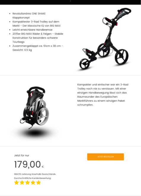 Beispiel einer Landingpage, Quelle: https://www.amzlead.com/big-max-golf-caddy-golftrolley
