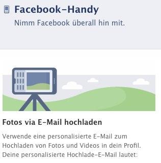 Facebook Bilderupload vom Handy / per Mail