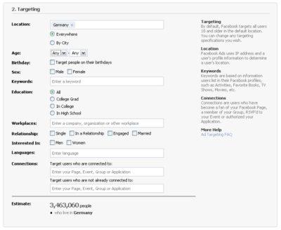 Facebook Anzeigen-Filter im Überblick