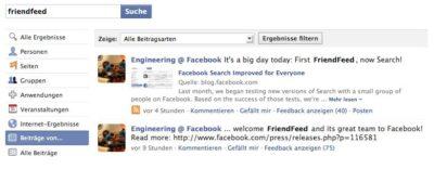 Facebook macht den Acivity Stream durchsuchbar