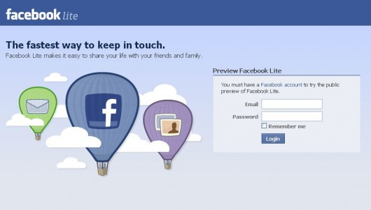 Facebook Lite Startseite