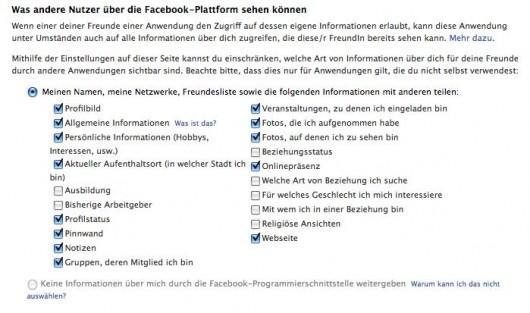 Facebook Plattform Privacy Einstellungen