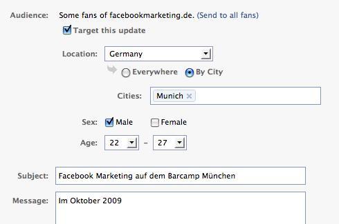 Facebook Nachrichten gesteuert an Fans versenden