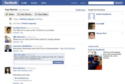 Facebook Lite Screenshot