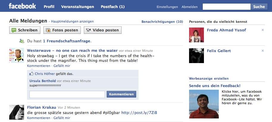 Facebook Lite für Deutschland