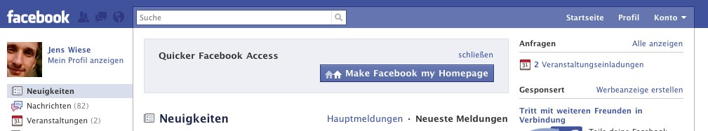 """Make Facebook my Homepage"" – Update"