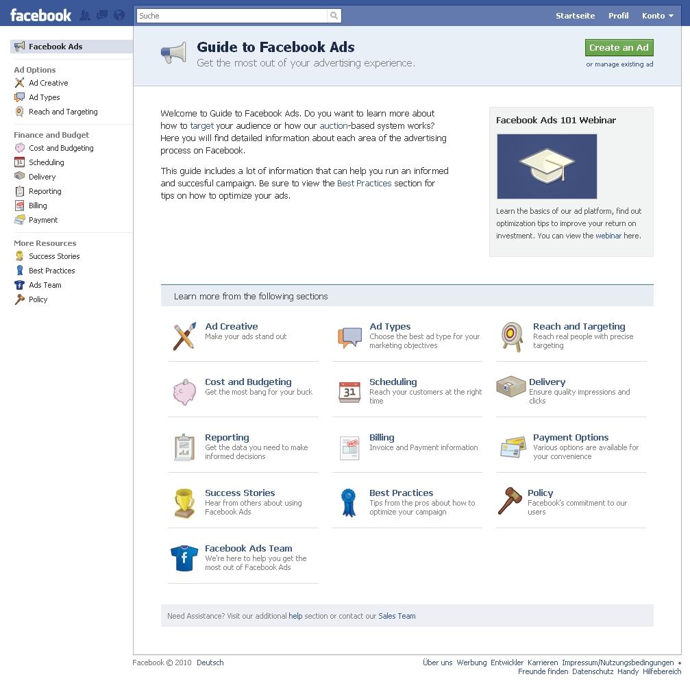 """Neue Facebook Ads Übersicht: """"Guide to Facebook Ads"""""""