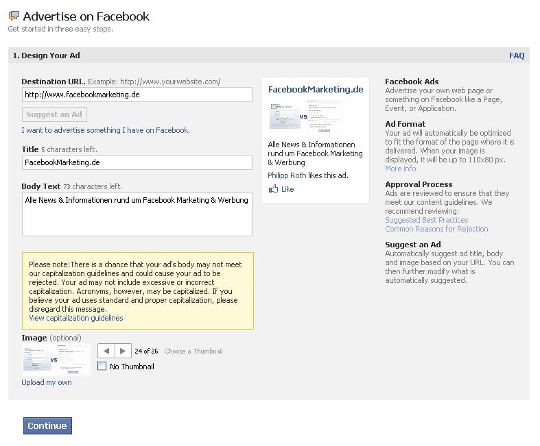 """Neues Feature: """"Suggest an Ad"""" – Facebook schlägt automatisiert Werbeanzeige vor.  (""""Werbeanzeige vorschlagen"""")"""