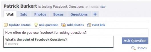 Facebook Questions Publisher Eingabemaske