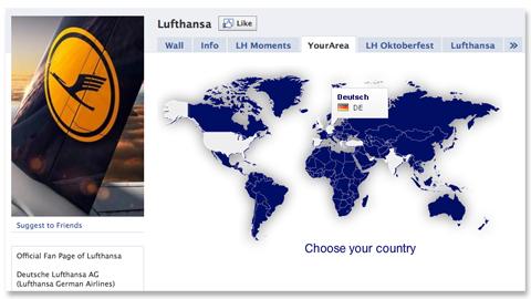 """Der """"YourArea""""-Bereich von Lufthansa besteht aus Flash."""