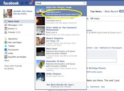 Facebook Suchergebnisse (Quelle Screenshot: Mashable.com)