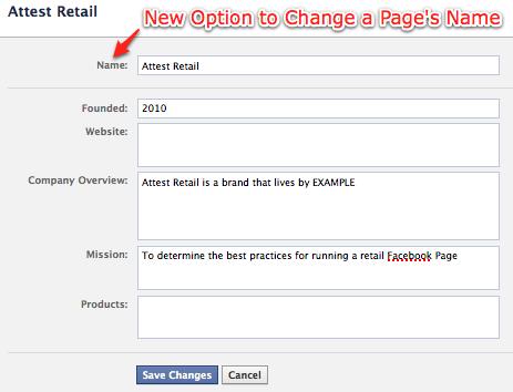 Facebook Page/Seite Name ändern (aktualisiert)