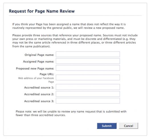 Facebook Seite umbenennen