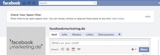 Facebook Spamfilter Benachrichtigung