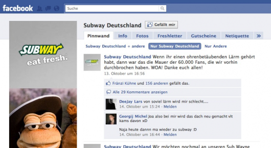 Subway Deutschland Facebook Page