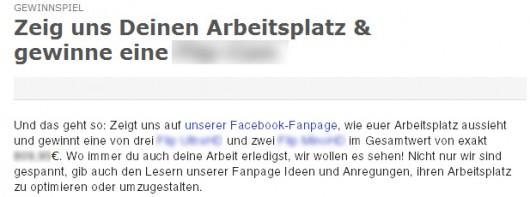 """Da die Aktion """"auf ... Facebook"""" statt finden soll, ist sie nicht """"völlig außerhalb"""" von Facebook und verstößt damit gegen die Bedingungen von Facebook"""