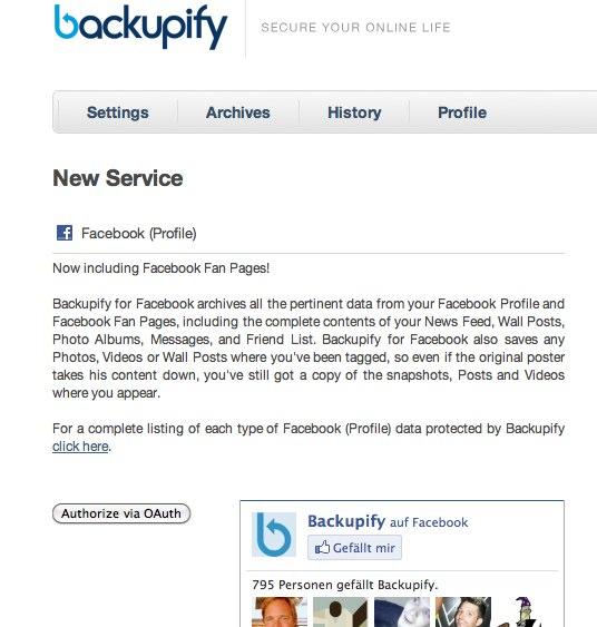 Facebook Page Backup – Backupify veröffentlicht Tool zur Sicherung der Fanpage Inhalte