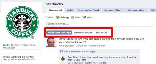 Starbucks Seite mit neuen Filtern