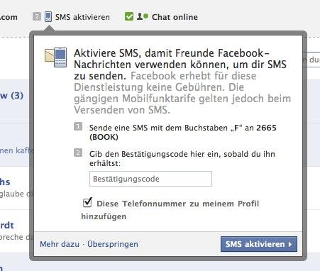 Facebook Messages und SMS Zustellung