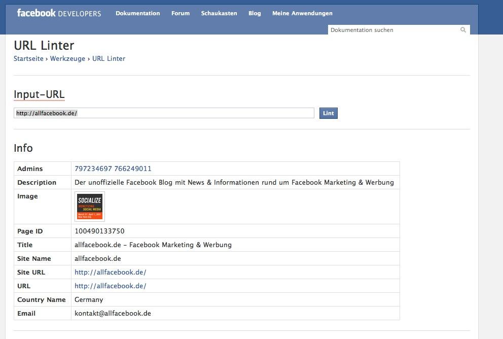 """Der URL Linter: Webseite bei Facebook """"anmelden"""" oder neu indizieren"""