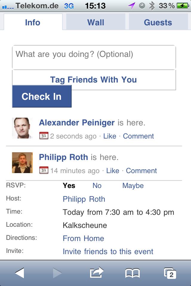 How-To: Facebook Events Check-Ins jetzt nutzen (zumindest zum Testen…)