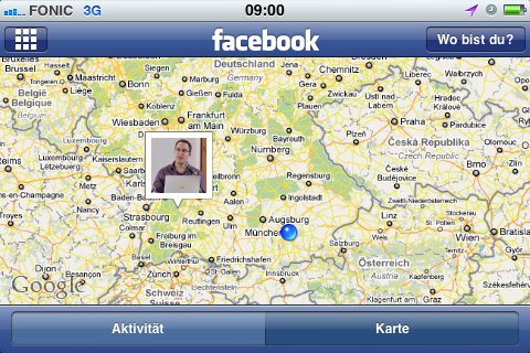 Facebook Check-in Karte