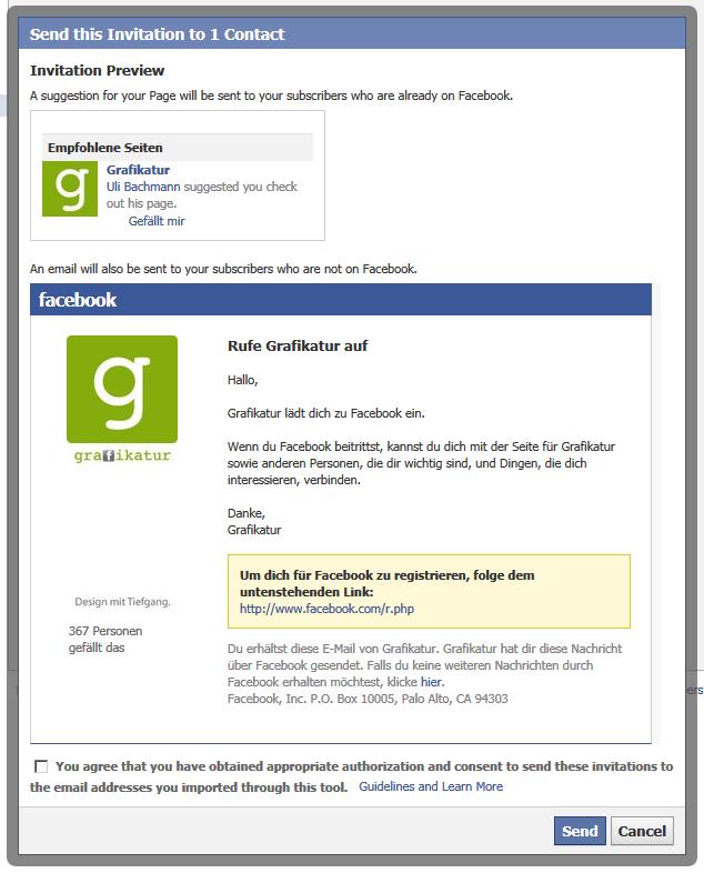 """So gehts: """"Fans einladen"""" aus E-Mail Adressbuch"""