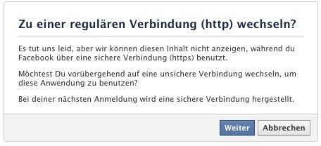 Fehlermeldung bei Anwendungen ohne SSL Zertifikat