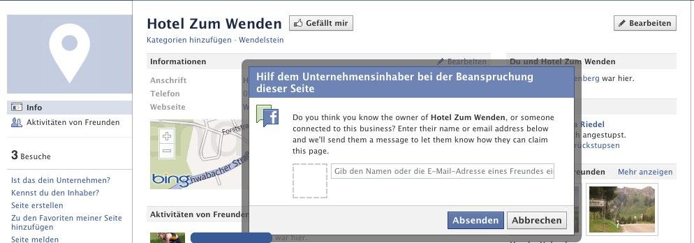 Facebook sucht die Inhaber von nicht geclaimten Orten