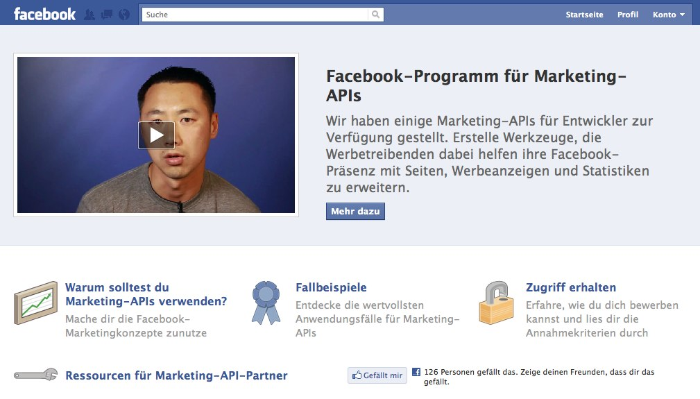 Facebook launcht Seite für die Marketing-API