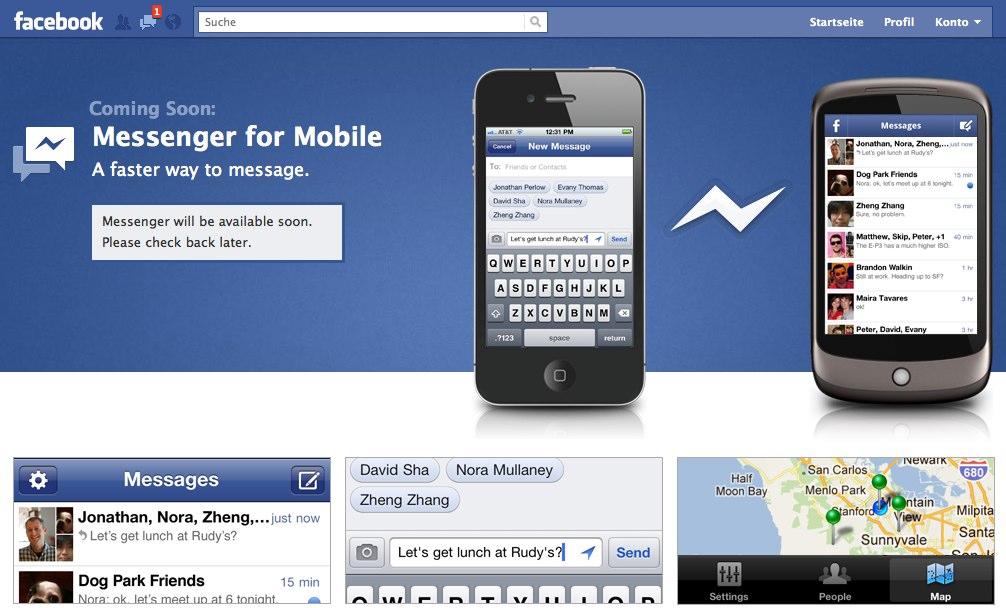 """""""Facebook Messenger"""" – Neue mobile App von Facebook als Konkurrenz zu WhatsApp und Google Huddle (Update)"""