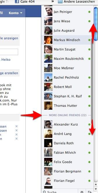 Neues Facebook Chat Update – Revival der Scrollbar und aller Personen die gerade online sind!