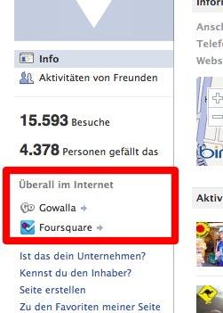 Facebook verknüpft Places direkt mit Foursquare, Gowalla und Yelp