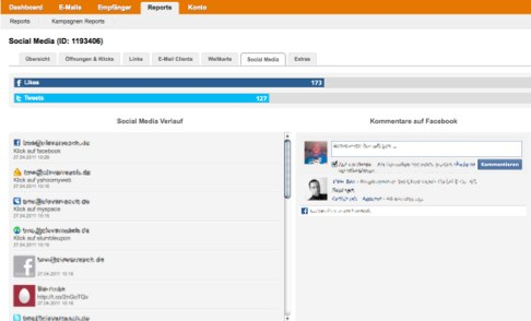 Social Media Tracking bei Cleverreach