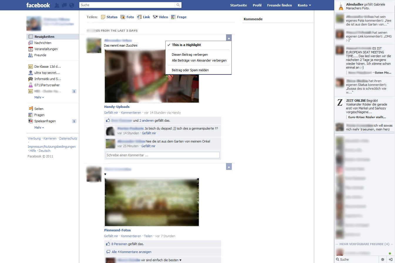 Erster Screenshot: Das neue Design des Facebook Newsstreams? (Update)