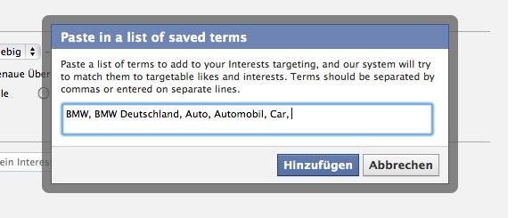 """Facebook Ads: (Endlich) verbesserte Usability beim Targeting nach """"Gefällt mir"""" & Interessen"""