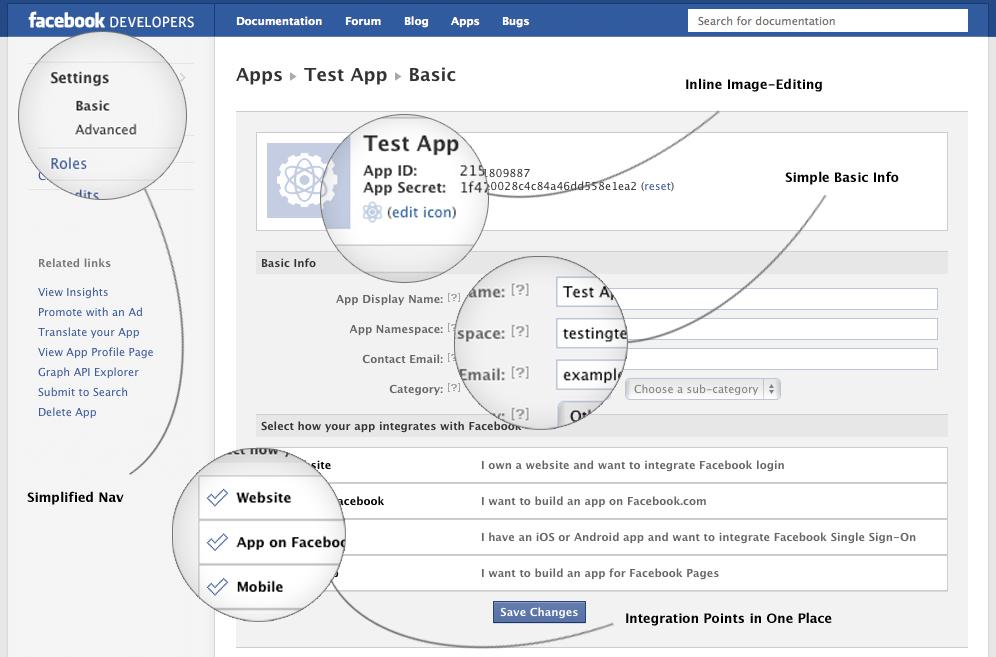 Facebook vereinfacht den Developer App Bereich