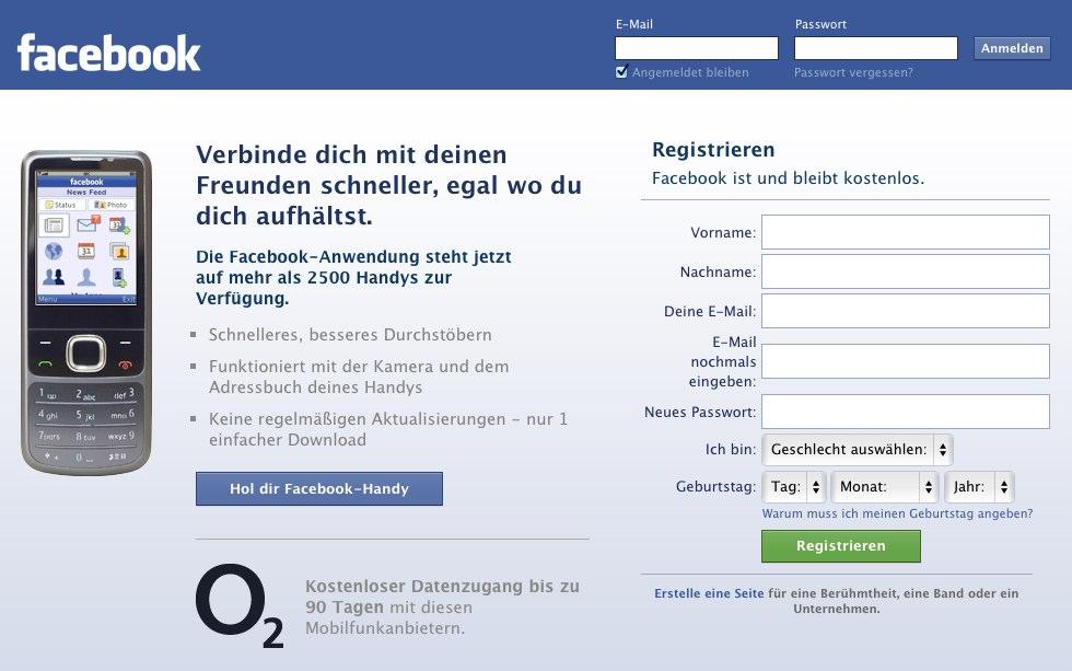 O2 erhält prominenten Werbeplatz auf Facebook (Update)