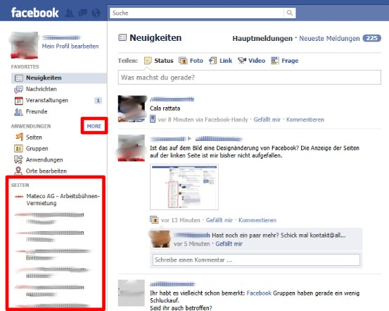Jetzt offiziell: Facebook veröffentlicht dynamische Seitenleisten mit frei definierbaren Favoriten