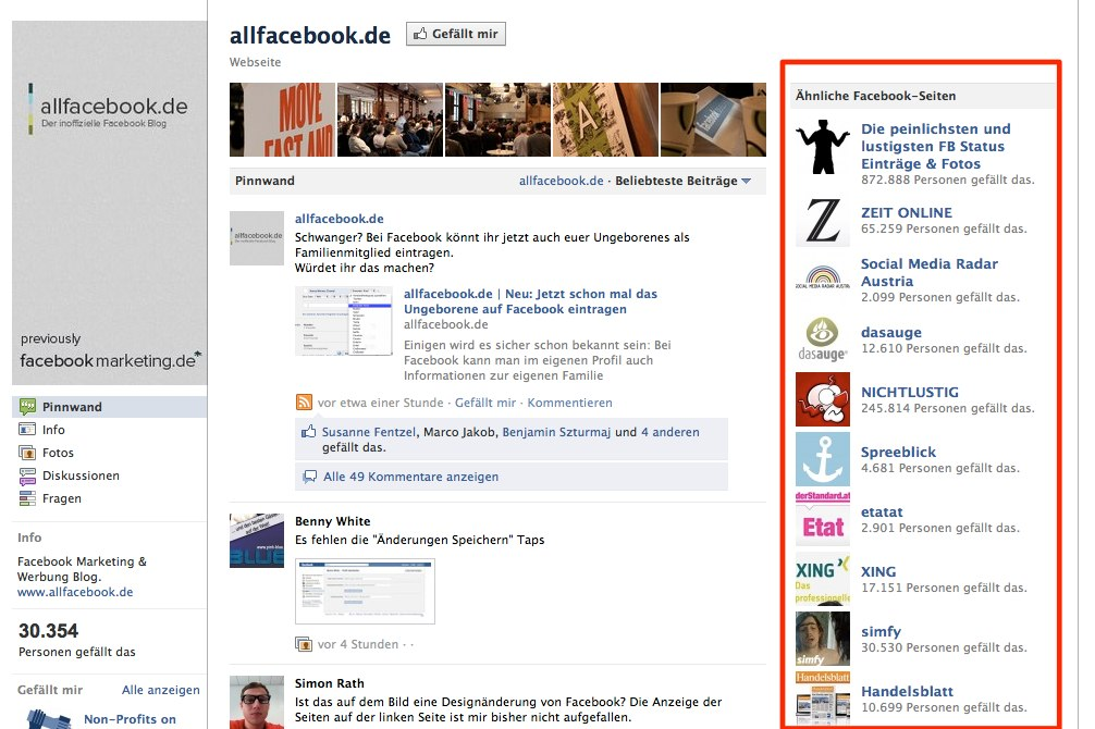 Schon bemerkt: Facebook wirbt für andere Seiten auf eurer Seite