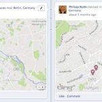 Check-Ins in verschiedenen Orten im Facebook Profil werden als Karte dargestellt. Die unterschiedlichen Orte werden hier auch in unterschiedlichen Fenstern angezeigt