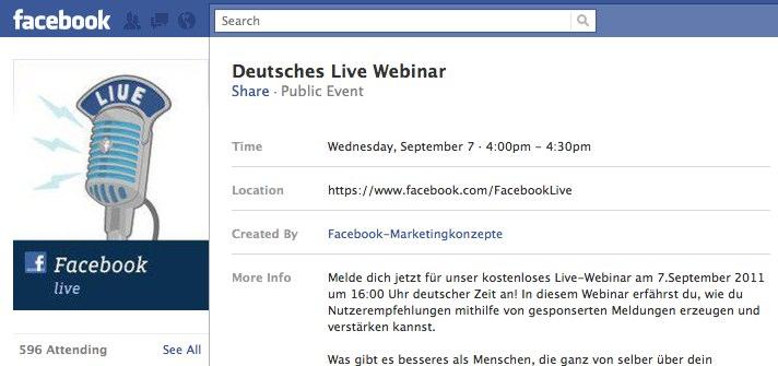 07.09.2011 – 16 Uhr: Kostenloses deutsches(!) Live-Webinar zu den Facebook Gesponserten Meldungen!