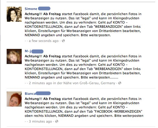 """Facebook Mythbusters 01 – """"Facebook nutzt ab Freitag eure persönlichen Fotos in Werbeanzeigen"""" (Stimmt nicht)"""