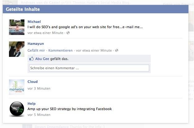 """Fanpages: Facebook zeigt """"geteilte Inhalte"""" unter den Posts an"""