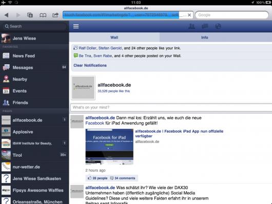 Die neue Webseite auf dem iPad