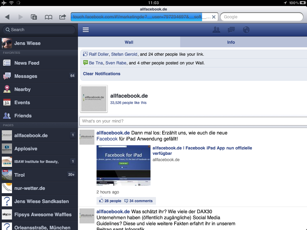 Neue mobile Version der Facebook Page