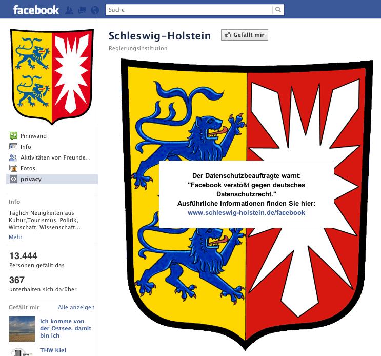 Staatskanzlei Schleswig Holstein installiert Warnschild auf Facebook Page