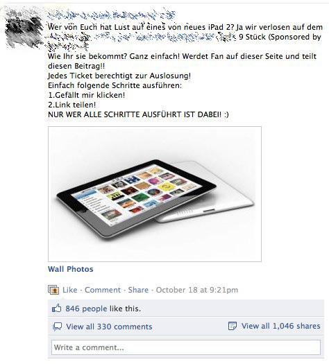 9 iPads? Klingt zwar schön, funktioniert aber so leider nicht ganz, denn eine faire Verlosung kann hier nicht stattfinden. Und seit wann gibt es eigentlich iPads in dieser Farbe? Richtig. Gar nicht...