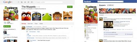 Die Muppets auf Google+ (links) und Facebook (rechts)