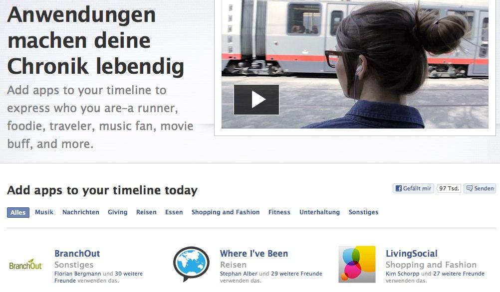 Facebook veröffentlicht 60 neue Anwendungen für die Chronik